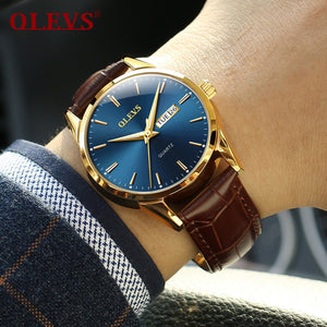Mens Watches Top Brand Luxury OLEVS Fashion Watch Men Leather Quartz Watch For Male Auto Date Rose Gold Shell relogio masculino - thefashionique