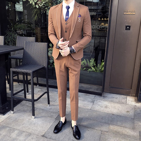 Mens Wedding Suits 2018 3 Piece Suits with Pants Khaki Tuxedo Gentleman Suits Mens Traje Hombre Formal Mens Elegant Costume Slim