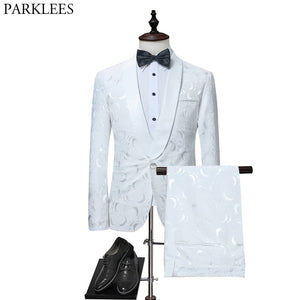 Mens White Floral One Button Suits Party Wedding Groom Tuxedos Groomsmen 2 Piece Suit (Jacket+Pants) Male Costume Mariage Homme - thefashionique