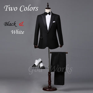 Mens White Suits Wedding Groom Black Tailor Blazer Wedding For Men Suit 2 Colors 7 Size Groomsmen - thefashionique