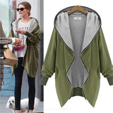 Merry Pretty Plus size Women thin outerwear jackets hood zipper-up sweatshirts female long-sleeve army green tops hoddies coats - thefashionique