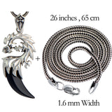 MetJakt 925 Sterling Silver Dragon Head Pendant with Natural Agate Crescent & Silver Snake Chain Necklace Suitable for Men - thefashionique