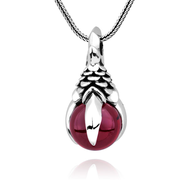 MetJakt Mens Punk Dragon Claw Garnet Pendant Necklace Solid 925 Sterling Silver and Snake Chain Handmade Jewelry - thefashionique