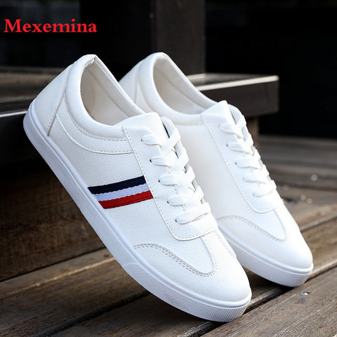 Mexemina Men's Shoes Spring Autumn PU Leather Lace-Up Wihte Style Light Breathable Fashion Sneakers Vulcanized Shoes Men