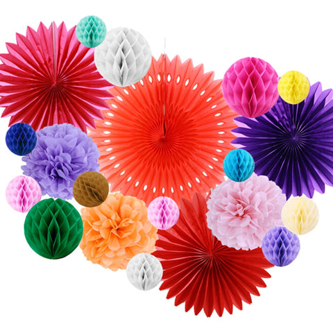 Mexican Party Fiesta Decorations 20pcs/set Tissue Paper Fans Honeycomb Balls For Wedding Birthday Events Festival Party Supplies