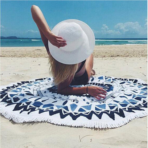 Microfiber Round Beach Towel 150cm Bath Towels Tassel Geometric Print Summer Women Sandy Swimming Plage Sunbath Toalla Playa
