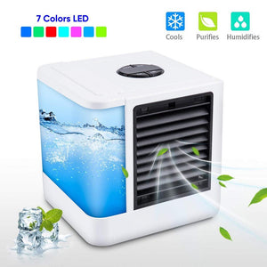 Mini Air Conditioner Air Cooler Fans USB Portable Air Cooler  Conditiioner Table mini Fan For Office  Home  7 Color light