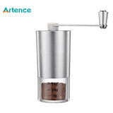 Mini Manual Coffee Grinder with Transparent Body Adjustable Ceramic Millstone Coffee Burr Mill for Home Office Travelling - thefashionique