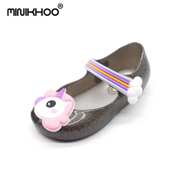 Mini Melissa 2018 Unicorn Shoes New Winter Jelly Shoe Dargon Sandals Fish Mouth Girl Non-slip Kids Sandal Toddler Melissa Shoes - thefashionique