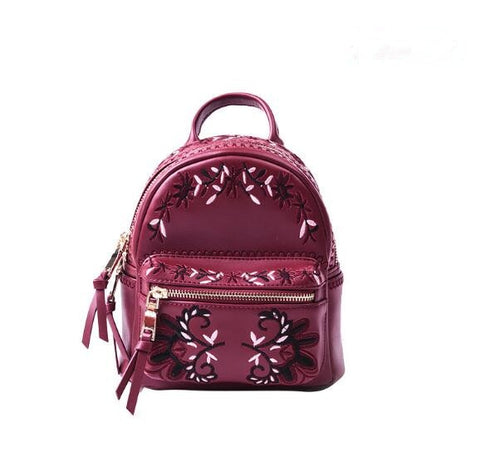 Mini size genuine leather women embroidery backpack fashion school bag - thefashionique