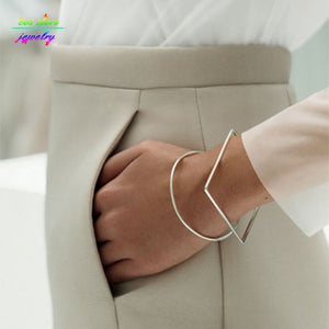 Minimal Modern Jewelry Other Stories Brief Square/Round Geometric Bracelets & Bangles Bijoux - thefashionique
