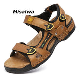 Misalwa Newly Sandals Slides Men Summer Leather Casual Shoes Breathable Fisherman Beach Hook-loop Men Slippers Drop Shipping - thefashionique
