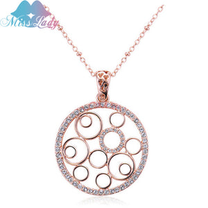 Miss Lady gold necklace & Pendant Couple matching Chokers Chains Fashion Crystal Hollow Round Heart pendants necklaces MLY4289 - thefashionique