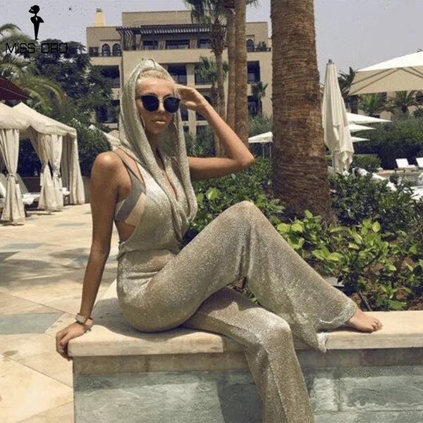 Missord 2017 Women Sexy tinsel Off Shoulder Rompers backless with hat  Elegant Solid gold Color Jumpsuit beach cover  FT19311 - thefashionique
