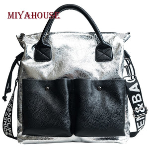 Miyahouse PU Leather Women Messenger Bag Fashion Panelled Crossbody Bag With Letter Strap Litchi Pattern Shoulder Bag For Women - thefashionique