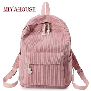 Miyahouse Preppy Style Soft Fabric Backpack Female Corduroy Design School Backpack For Teenage Girls Striped Backpack Women - thefashionique