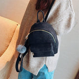 Miyahouse Women Mini Corduroy Backpack Teenagers Cute Backpack with Fuzzy Ball Children Small Shoulder Bags Female Travel Bags - thefashionique