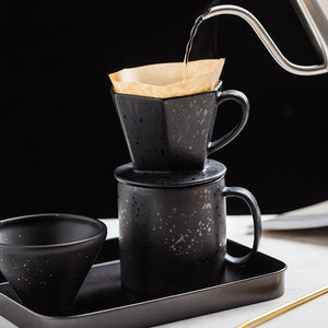 Mocha Latte Coffee Maker Ceramic Coffee Percolator Pot With Filter Paper Geometric Shape Espresso Water Drip Coffee Maker - thefashionique