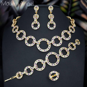 ModemAngel Luxury Link Chain Cross Dubai Gold Jewelry Set Nigerian Wedding African Beads Bridal Jewellery Set Cubic Zircon Jewel