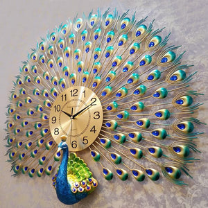 Modern Design Peacock Wall Clock Home Decor Wall Watch Living Room Bedroom Mute Clock Wall Metal Digital Wall Clocks