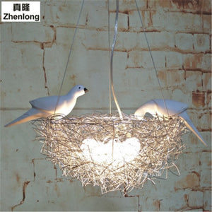 Modern LED Chandelier Lighting Bird's Nest Droplight Bedroom Pendant Lamp Lustre Hanging Fixtures Child Kids Room Decor Light - thefashionique