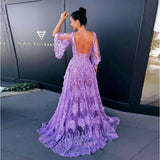 Modern Lace Lavender Prom Gown Butterfly Sleeve Backless Long Tulle Evening Gown Floor-Length Fluffy Fashion Dresses Custom Made - thefashionique