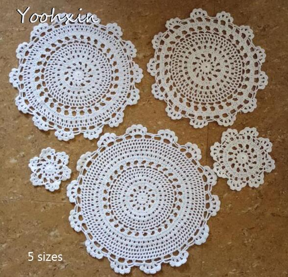 Modern Lace Cotton Placemat Cup Coaster Mug Kitchen Christmas Dining Table Place Mat Cloth Crochet Tea Coffee Doily Dish Pad Home & Garden