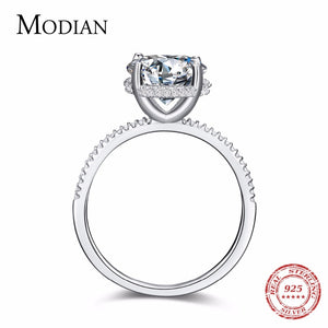 Modian Classic 100% Real 925 Sterling Silver Ten Hearts Zircon Luxury Ring Fashion Wedding Rings Engagement Jewelry For Women - thefashionique