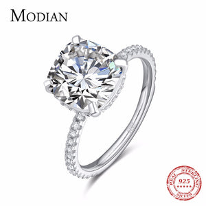 Modian Luxury Genuine 925 Sterling Silver Ring Classic 4CT 10 Hearts Arrows Zircon Jewelry For Women Engagement Wedding Rings - thefashionique