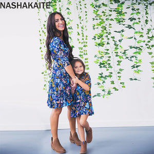 Mom and Daughter Dress Mommy and me 2019 Blue Floral Printed Mini Dress Mother Daughter Dresses Mother and Daughter Clothes - thefashionique
