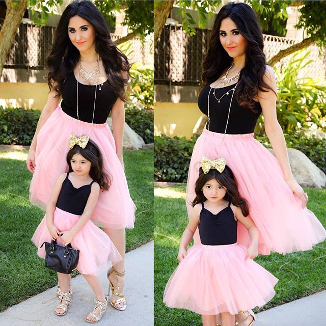 Mommy and Me Clothes Mother Daughter Tutu Dress Mum Girls Wedding Dresses LOVE Mom Mama Pink Tutu Skirt Family Matching Outfits - thefashionique