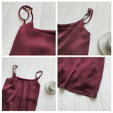 Mooirue 2019 Summer Spring Casual Satin Cami T-shirt Woman Clothes Satin Camisole Vest Stripe Wine Red Slim Pullovers - thefashionique