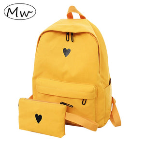 Moon Wood High Quality Canvas Printed Heart Yellow Backpack Korean Style Students Travel Bag Girls School Bag Laptop Backpack - thefashionique