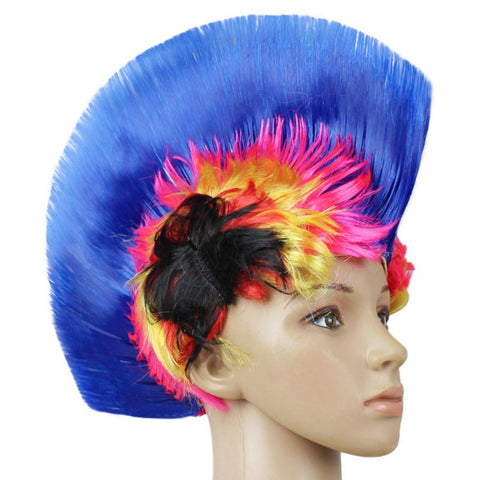 Morden Style Rainbow Mohawk Hair Wig Rooster Fancy Costume Punk Rock Halloween Party Decor Festive & Party Supplies