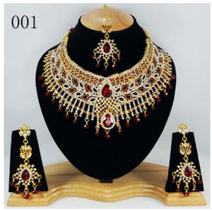 More style Delicate India Jewelry set Ethnic luxury Accessory Necklace Eearring Eyebrows Pendant 3 Piece Set Bollywood jewelry - thefashionique