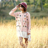 Mori Girl Floral Attached Cute 2016 Autumn Knitting Jackets Sweaters Cardigan Single Breasted Knitted Coat Fall Overcoat Outwear - thefashionique