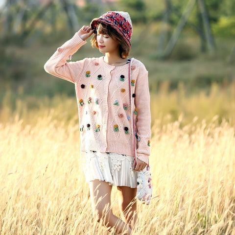 Mori Girl Floral Attached Cute 2016 Autumn Knitting Jackets Sweaters Cardigan Single Breasted Knitted Coat Fall Overcoat Outwear
