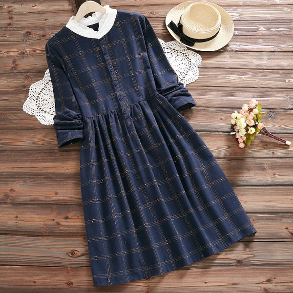 Mori Girl Spring Autumn Elegant Sweet Dress Stand Collar Plaid Vintage Full Sleeve Vestidos Casual Loose Cute Dress With Lace - thefashionique