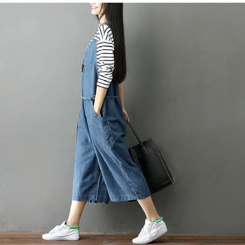 Mori Girl Spring Autumn Women Denim Jumpsuits Casual Loose High Waist Wide Leg Ankle-Length Jeans Solid Washed Female Overalls - thefashionique