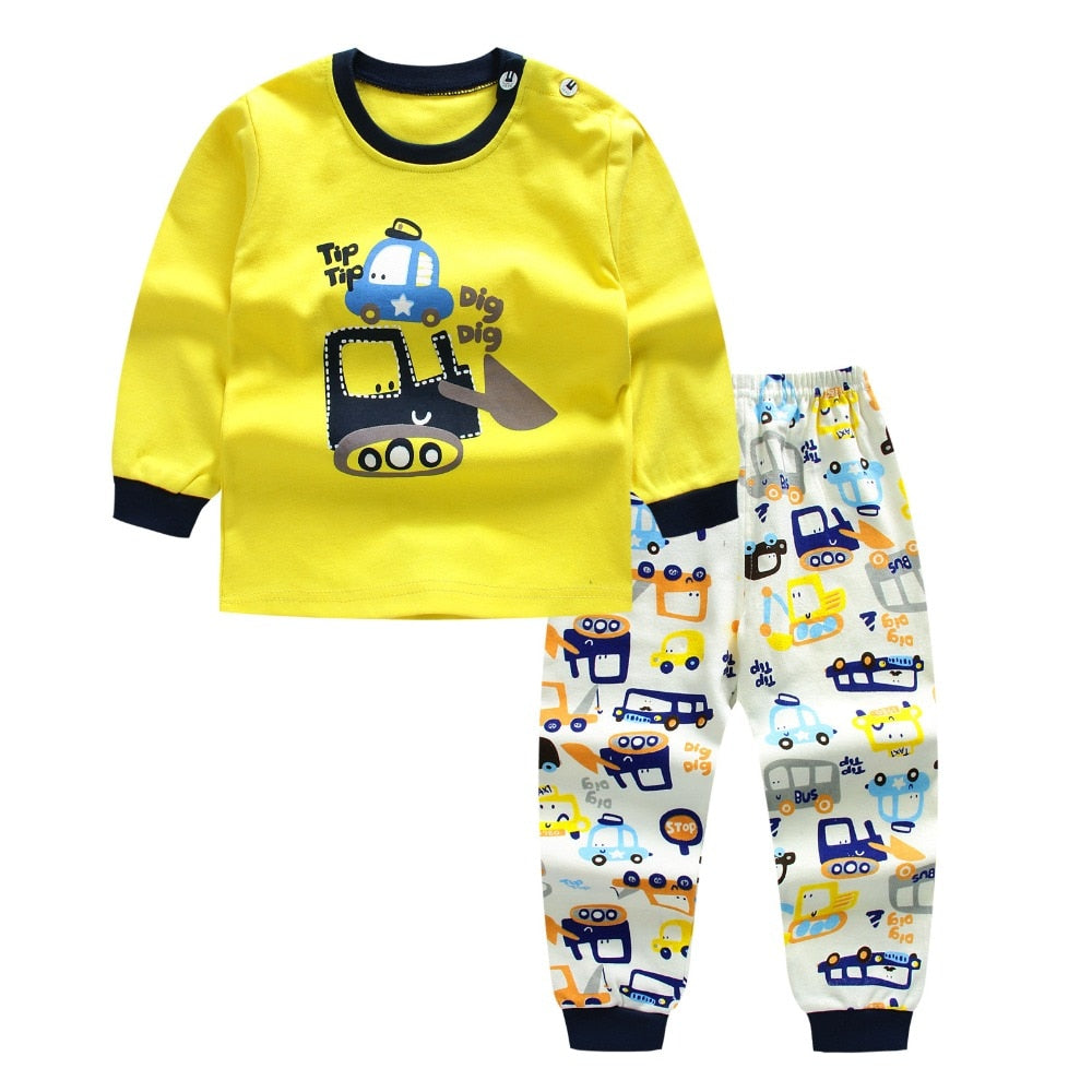 Morningtwo 2018 Cartoon Shirt+pants 2pcs Children's Clothing Set Outfit Toddler Baby Boys Long Sleeves Set 12m-5t For Autumn - thefashionique