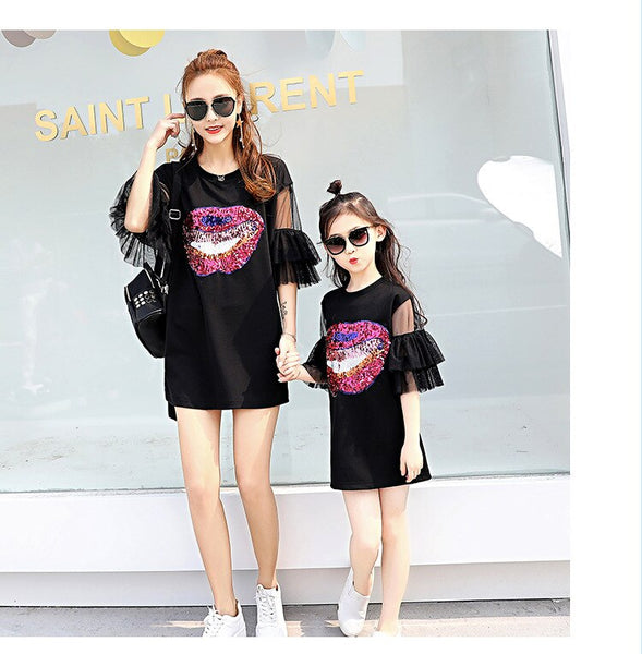 Mother Daughter Dresses Matching Mom and Daughter Clothes Sequins Ruffle Sleeve Family Matching Clothes Mommy and Me Dress 2018 - thefashionique