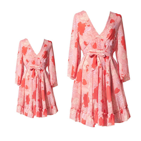 Mother Daughter V-neck Dresses Fashion Floral Clothing Mom and Daughter Dress Mum Sister Clothes Pajamas Family Matching Outfits