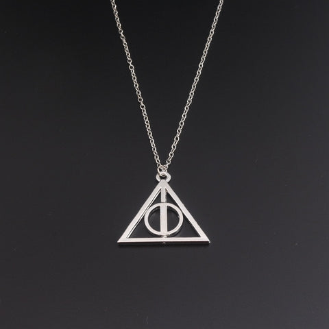 Movie Inspired Deathly Hallows Necklace Wizard Pendant Necklace Silver Geometric Triangle Necklaces & Pendants - thefashionique