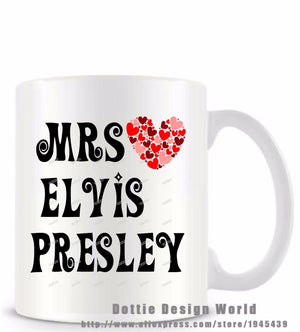 Mrs Elvis Presley funny novelty travel mug Ceramic white coffee tea milk cup Personalized Elvis Fans Birthday Easter gifts - thefashionique