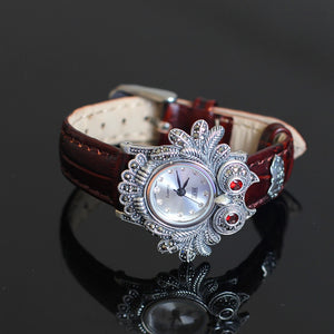 Ms character silver items S925 pure silver ornaments owls quartz bracelet hand table - thefashionique