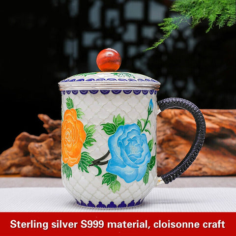 Mug Cup Pure Silver 999 Flowers open Rich Handicraft Enamel Teapot Cloisonne Tea Cup - thefashionique