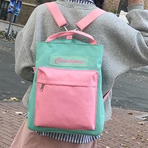 Multi-function Backpack High School Students Backpack Ladies Korean Large-capacity Solid Color Stitching Three Fashion Leisure - thefashionique