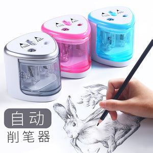 Multifunction Electric Pencil Sharpener Double Hole Sharpening  School Accessories Automatic Color Pencil Cutter For Kids