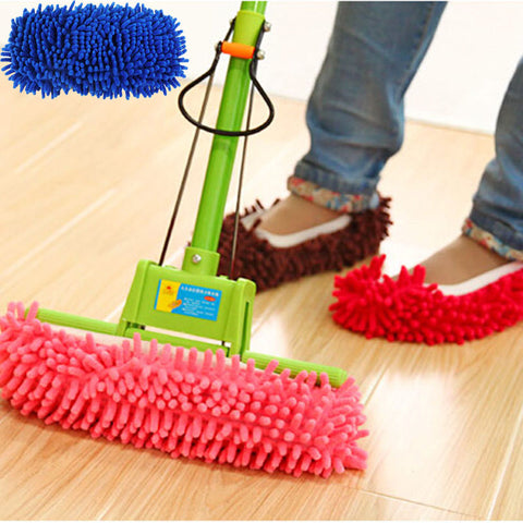 Multifunction Microfiber Chenille Floor Dust Cleaning Slippers Mop Wipe Shoes Wigs House Home Cloth Clean Cover Mophead Overshoe
