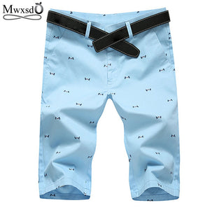 Mwxsd Brand 2019 Men's Fashion Summer Straight  Shorts  Casual Bermuda Masculina Print Casual Beach Shorts Men